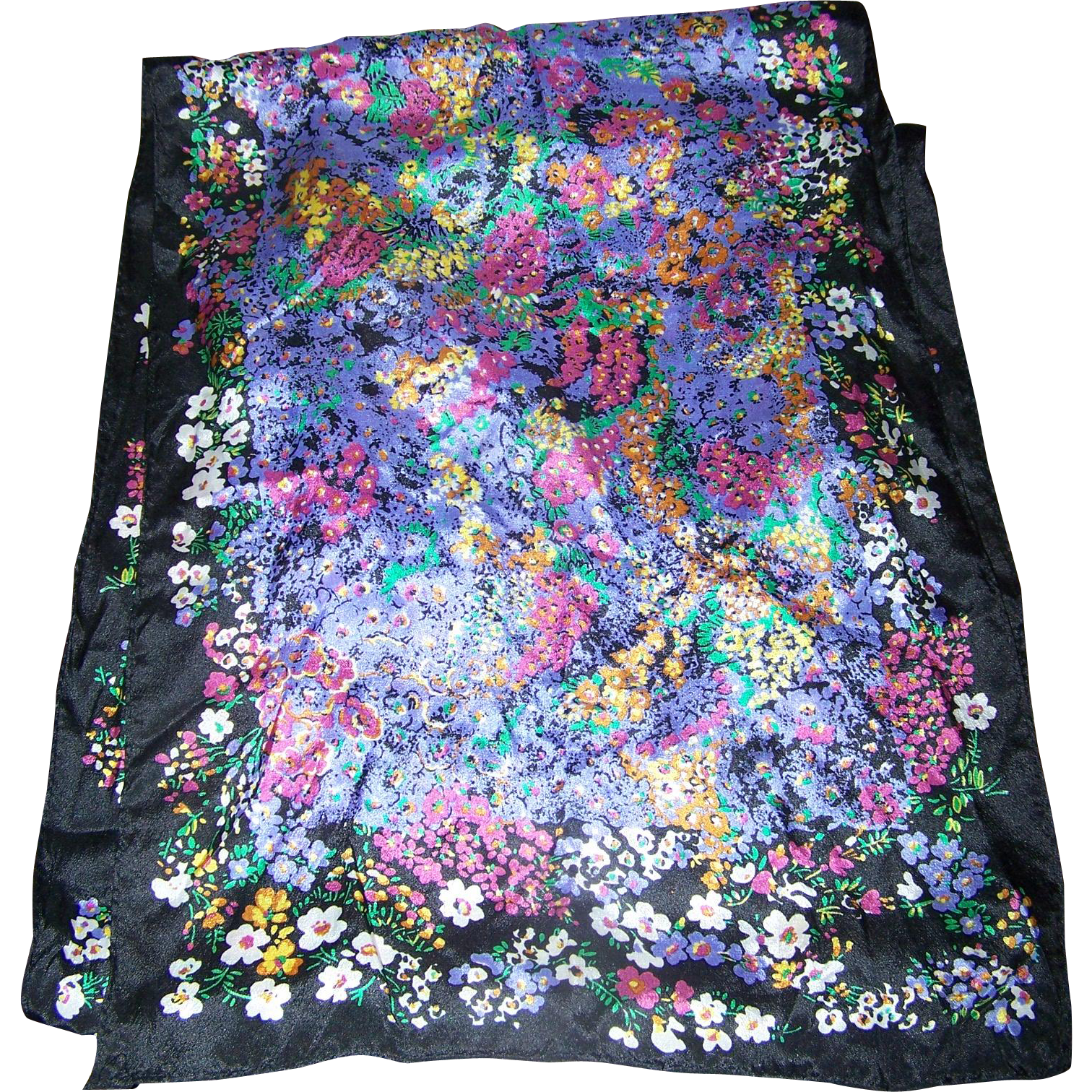 Lovely Long 100 % Silk FLoral Print Scarf by The Speciality House Wearable ART