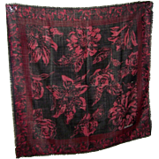 Beautiful Flower Themed Designer  Signed Wool Fringed Scarf Oscar de la Renta