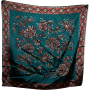 A Lovely Richly Decorative Ladies Fashion Scarf Floral Theme Wearable ART