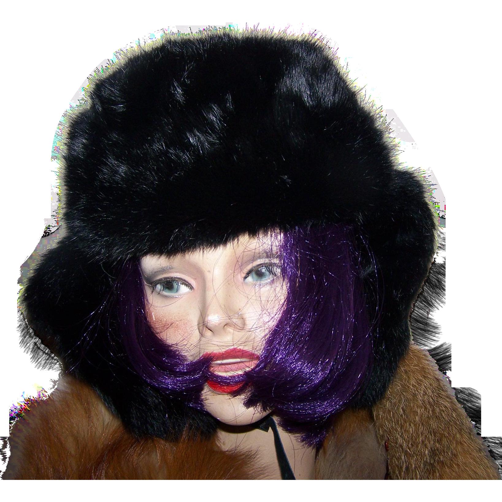 CROWN CAP Winnipeg Canada  Aviator Trapper Black Rabbit Fur Hat Size Ladies Large