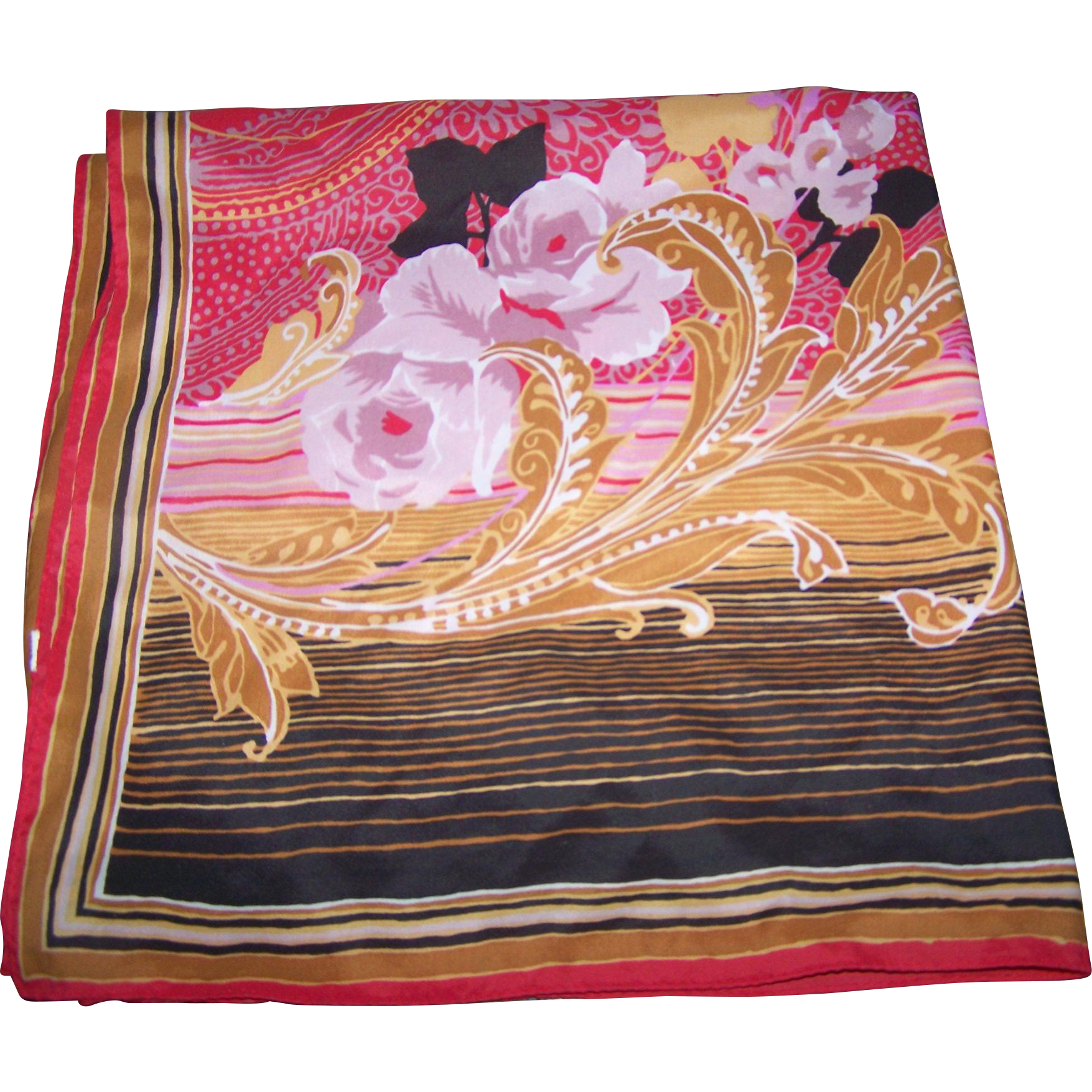 Pretty Decorative Floral Themed Crepe Silk Scarf Wearable ART