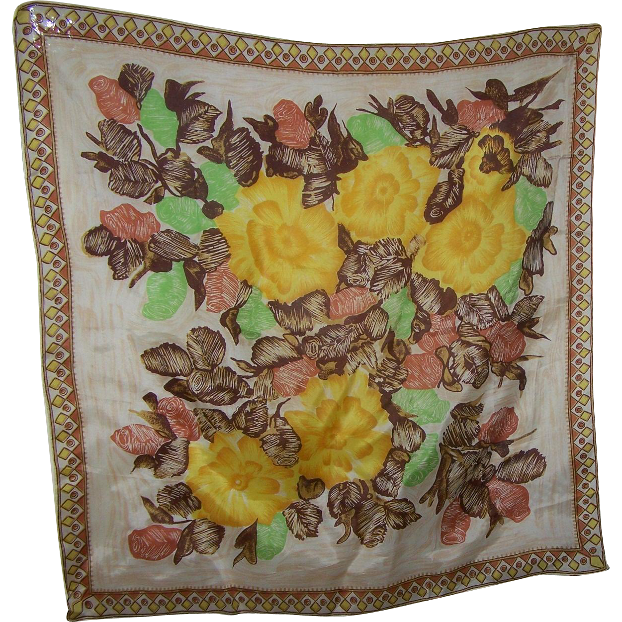 Vintage Acetate Blend Floral Diamond Circle Themed Ladies Fashion Scarf