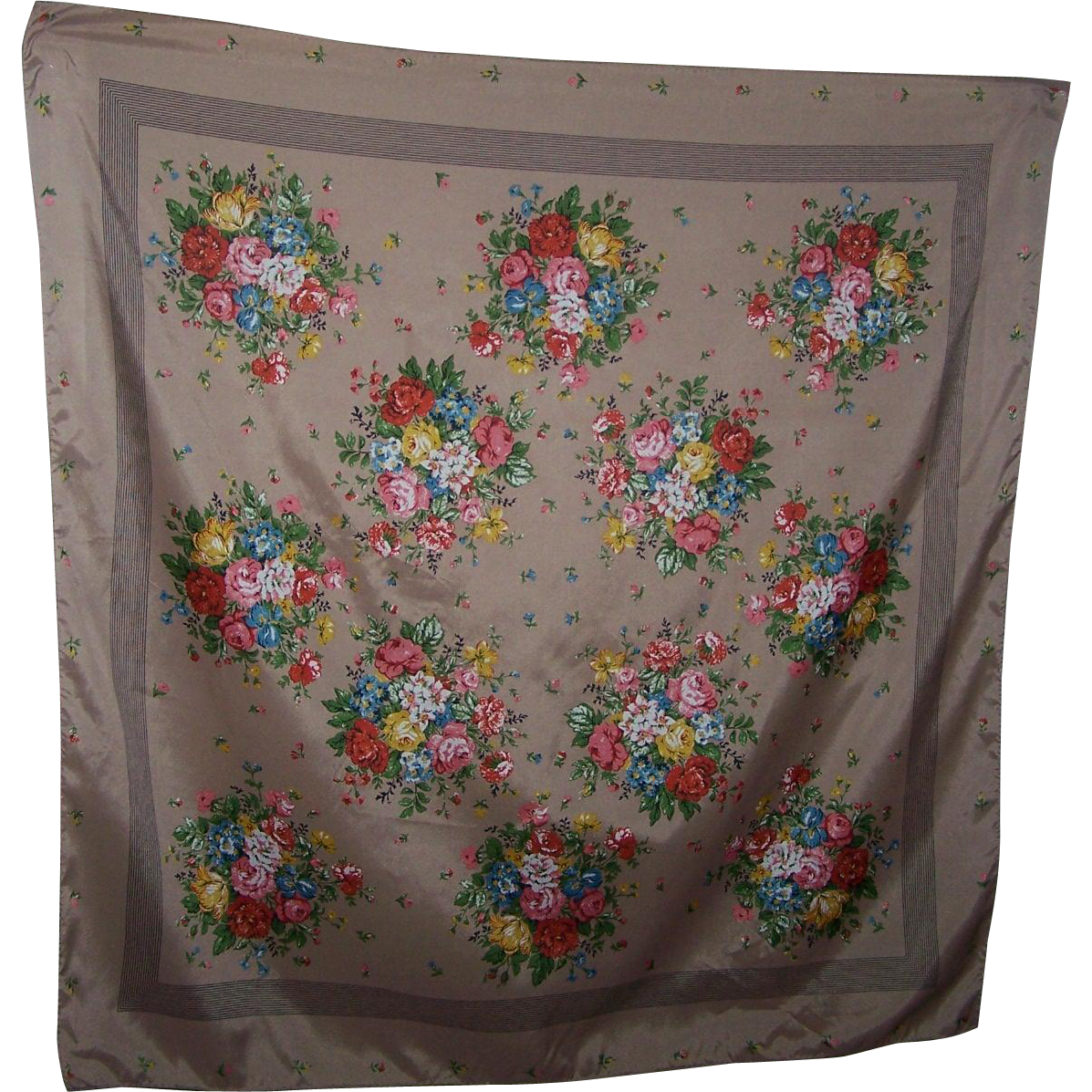 Pretty Mixed Flower Floral Bouquet Ladies Fashion Scarf