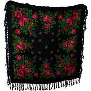 Beautiful Floral Themed Ladies Fashion Fringed Shawl or Home Decor Table Throw