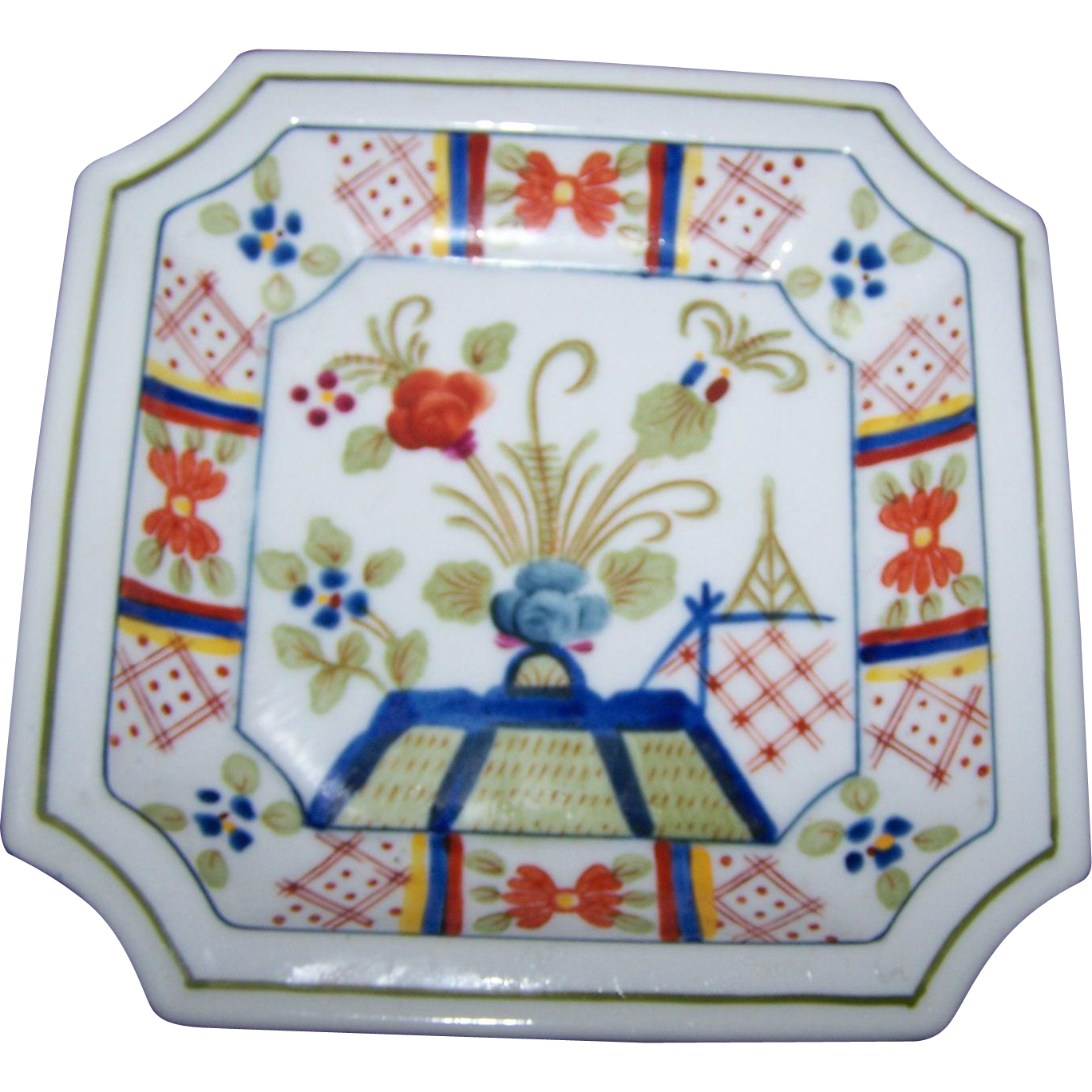 Beautiful Vintage Japanese Hand Painted Imari Style  Square Porcelain Dish