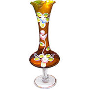 Pretty Vintage Amber Glass and Enamel Decorated Floral Themed Vase Clear Pedestal Base