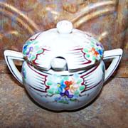 Vintage Ceramic Mustard Pot MIJ Hand Painted Florals