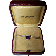 A Vintage Purple Amethyst 10 K White Gold Bar Pin In Original BIRKS Box