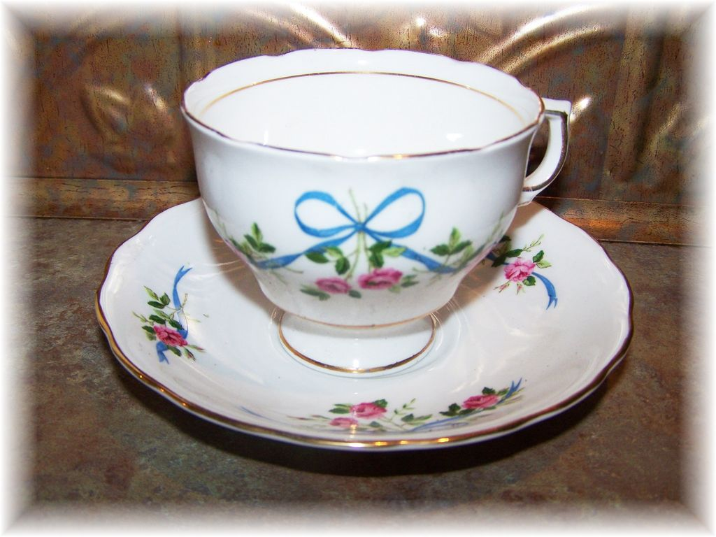 Vintage Colclough Tea Cup & Saucer Ribbon Bow Rose Floral Motif