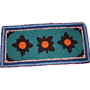 A Cheerful Colorful Vintage Hand Hooked Floral Themed Small Rug Home Decor