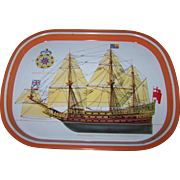 Vintage Tin Litho Nautical Souvenir Tray Soverign of the Seas
