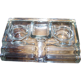 Industrial Era Clear Glass 2 Bottle Inkwell Desk Organizer Pen & Clip Holder Office  Home Decor Accent