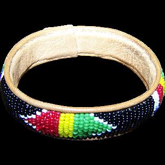 A Pretty Vintage  Glass Seed Bead Loom Style Bangle Bracelet On Leather