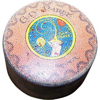 Rare Gay Paree Derny Perfume Face Powder Advertising Tin Box Art Deco Flapper Girl ERA