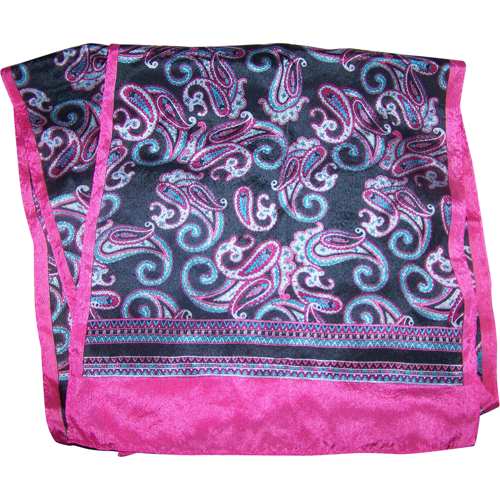 Lovely Long Rectangular Silk Scarf Paisley Themed by The Specialty House Japan