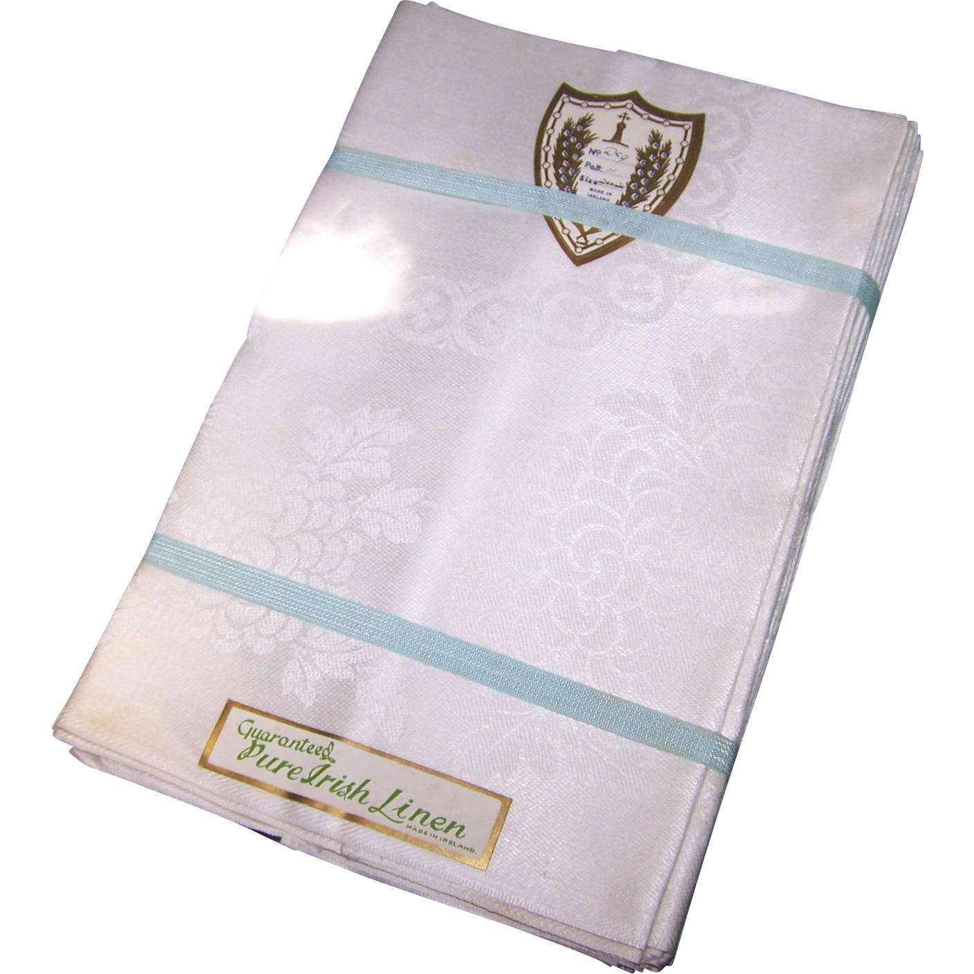 Guaranteed Pure Irish Linen Made in Ireland Chrysanthemum Pattern Hemmed Napkins In Original Paper