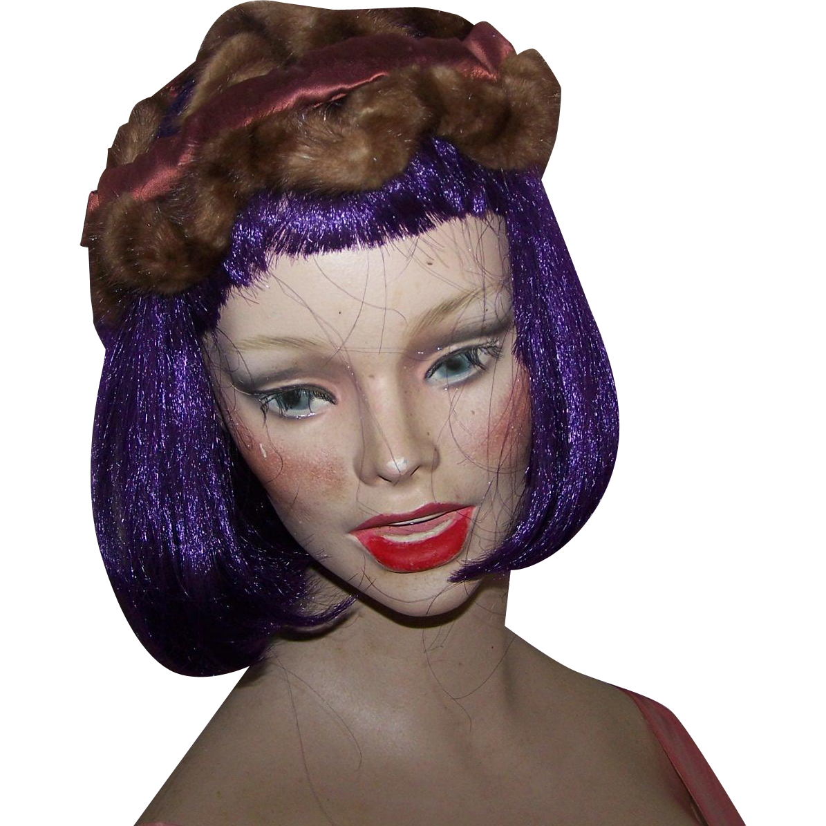 Vintage Mink Fur and Silk Ladies Fascinator Style Ladies Fashion Accessory Hat Head Band