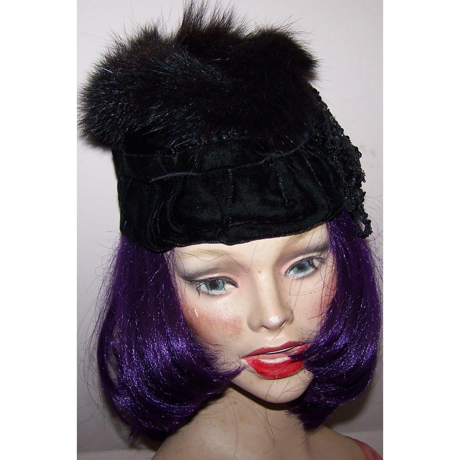 Lovely Black Velvet Rabbit Fur Sequin  Flapper Girl Style Vintage Ladies Fashion Hat