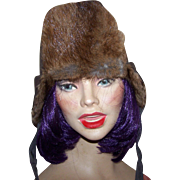 Vintage Ladies Aviator Trapper Style Hat Real Fur Accents WOW Winter We Are Ready