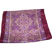 A Rich Patterned Paisley Themed Long rectagular Fashion Scarf Rolled Edge