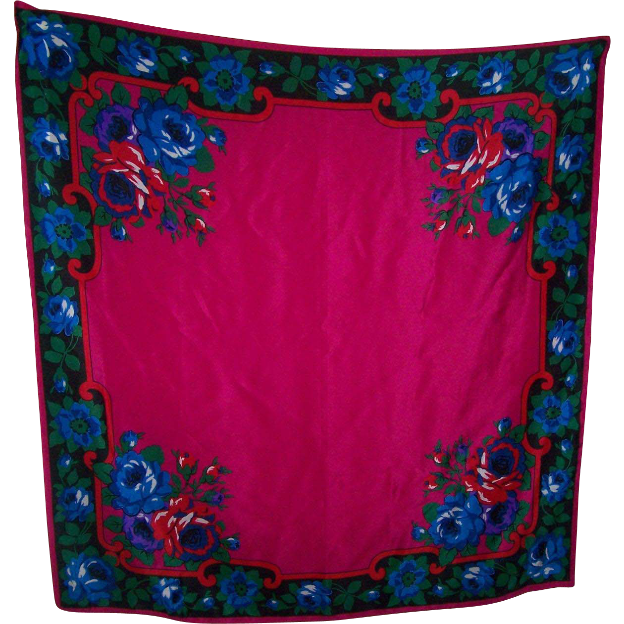 A Beautiful Large Floral Themed Silk Scarf Designer Signed ECHO Wearable ART