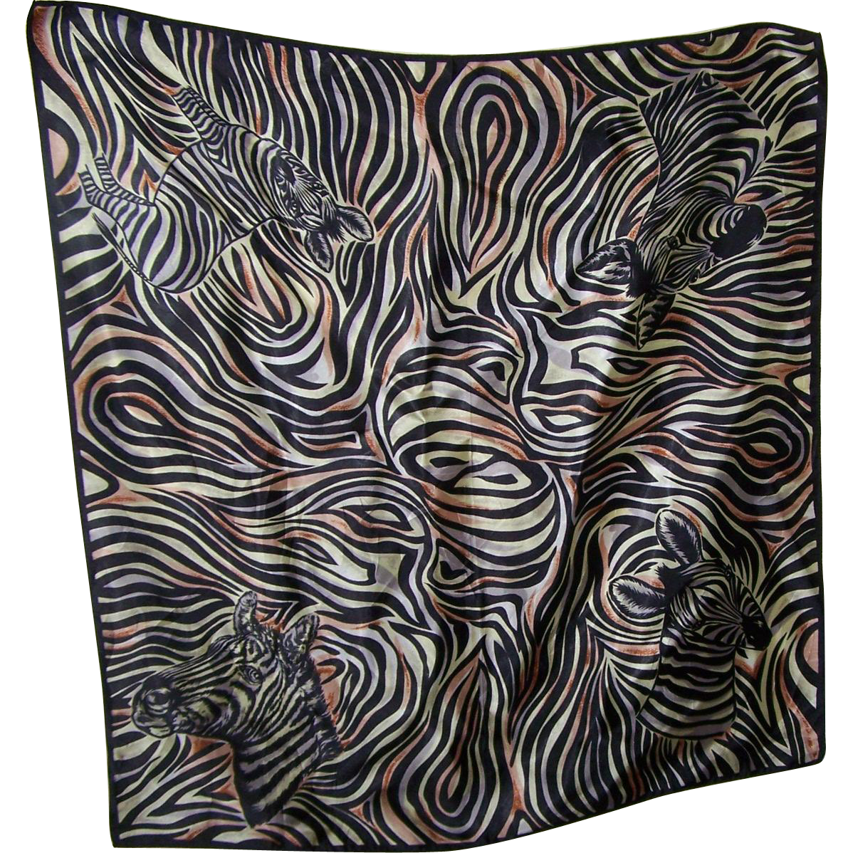 What A Great Gently Used Animal Print Zebra Fashion Scarf Wearable OP ART