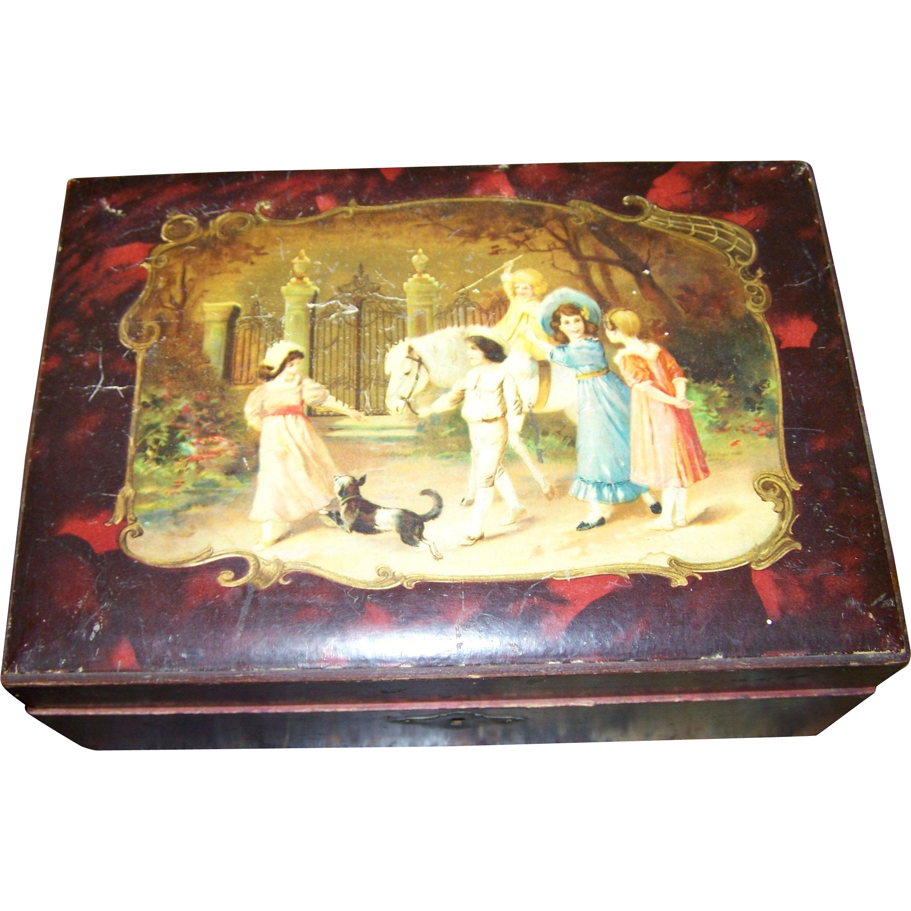 Wood Vanity Dresser Box Faux Celluloid Style Tortoiseshell with Scene For Repair