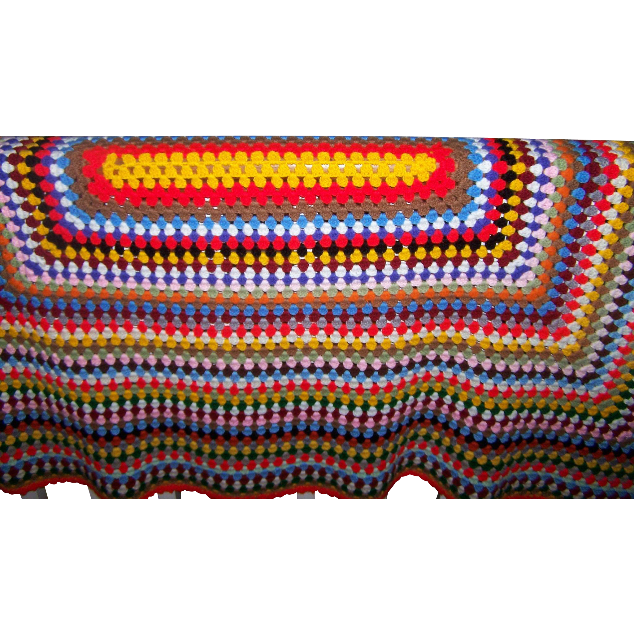 Crazy Colorful Bight and Cheerful Hand Crochet Vintage Blanket Spread