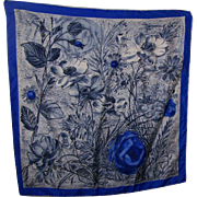A Pretty Floral Pattern Ladies Fashion Scarf Rolled Edges Wearable ART