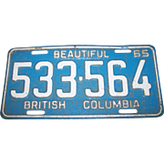 CANADA Passenger  Auto Car  LICENSE PLATE  533-564 Beautiful British Columbia 65