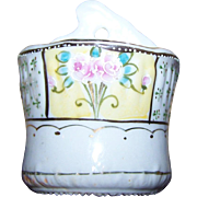 Sweet Porcelain Hand Painted Moriage Style Match Holder with Striker Made in Japan Wall Mount Style