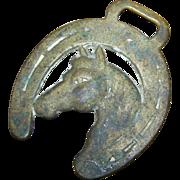 Decorative Vintage Horsse Head Horseshoe  Brass Decoration  Saddle Medallion  Harness Strap
