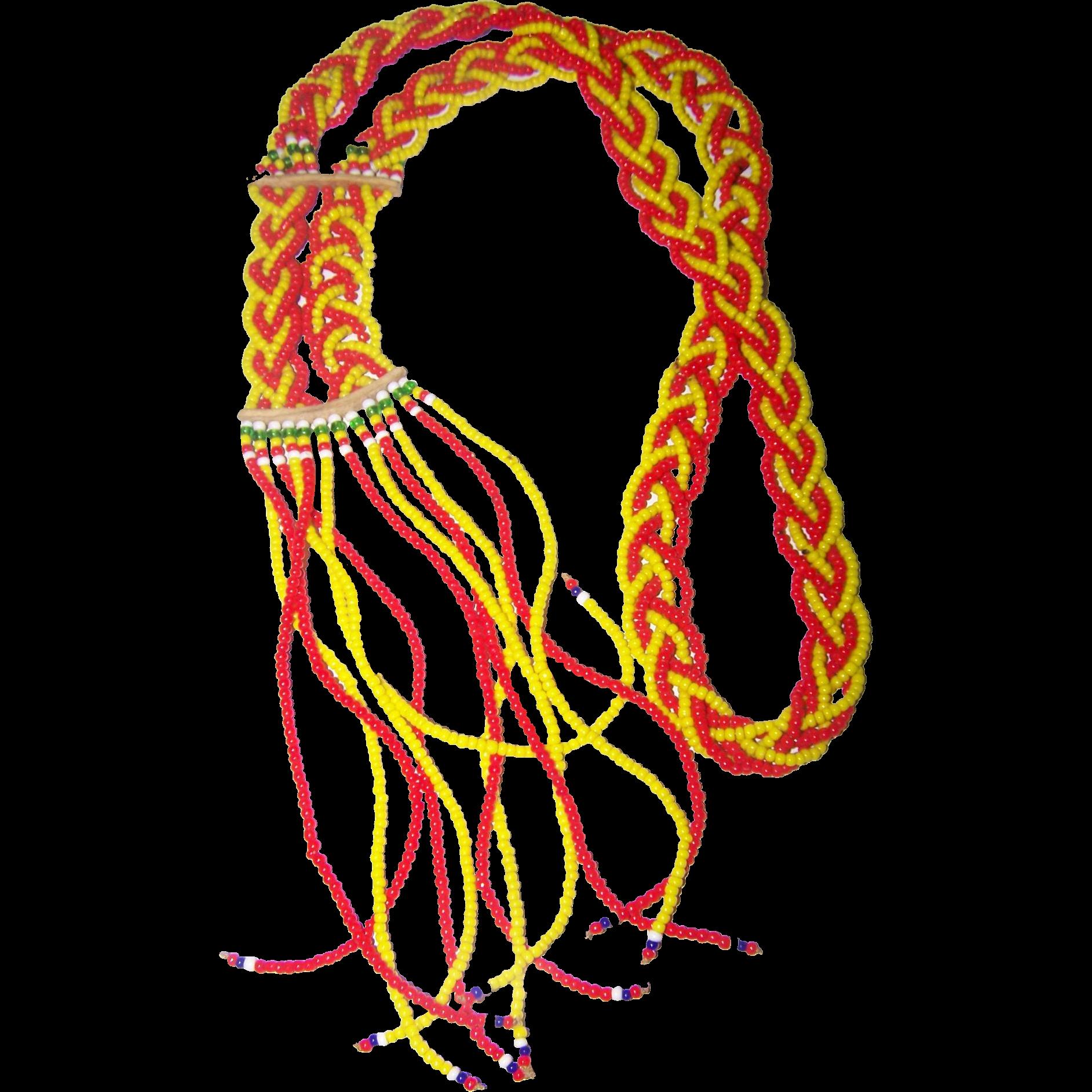 Pretty Glass Seed Bead Tassel Style Necklace Orange Yellow Green White