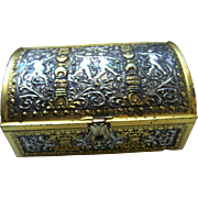 Sweet Tin Advertising Candy Storage  Hump Back Chest for Jacques Urney Chocolates Dublin Ireland