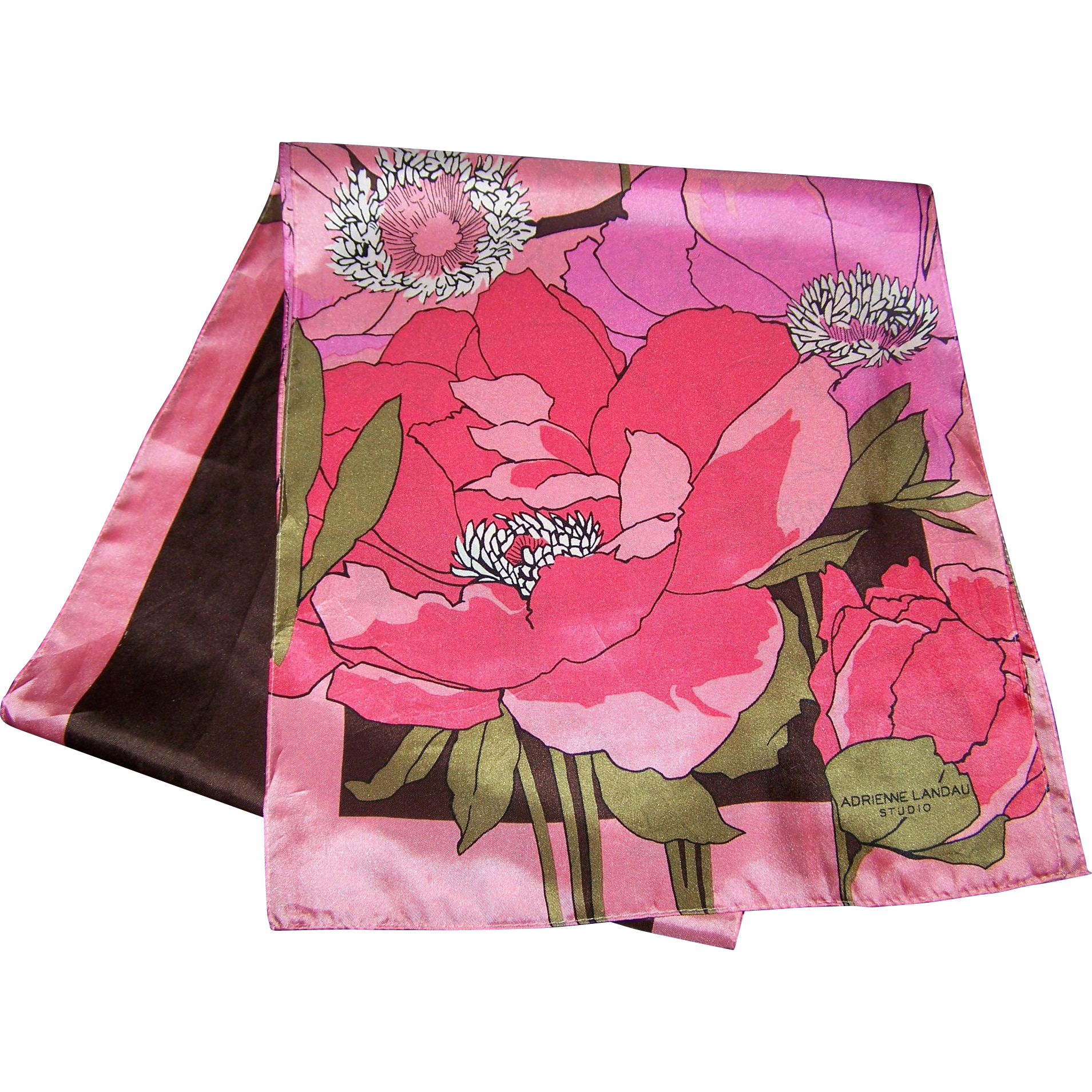 Lovely Long Floral Flower Power  Print Designer Signer Adrienne Landau Studio Silk Scarf