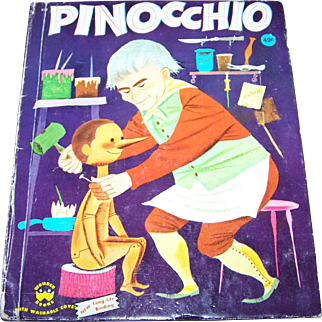 Vintage Collectible Hard Cover Childrens Book  Pinocchio Wonder Books