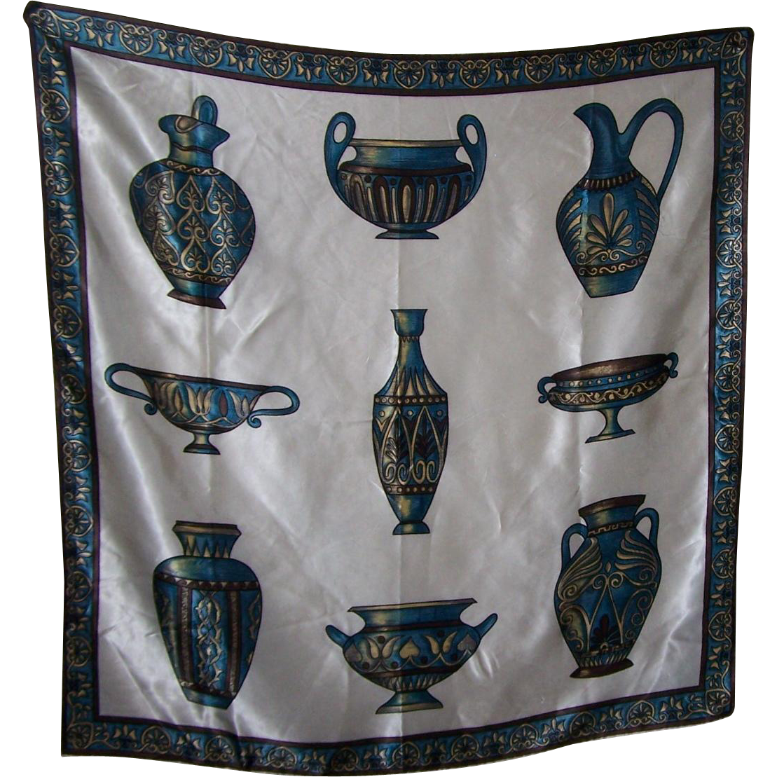 Large Vintage Decorative Scarf Featuring Vase Urn Theme Rolled Edges Wearable ART