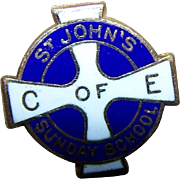 Tiny Lapel Pin Enamel 10K Gold C of E ST John's Sunday School Trophy Craft