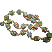What A Funky Vintage Geometric Dyed Wooden Cube Stripe Bead Necklace