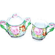 Sweet Rose Floral Themed Flower Handle Covered Sugar Bowl and Creamer Made In Japan