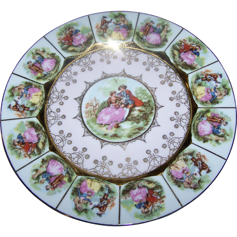 "Fragonard Colonial Love Scene 10.5"" Decorative Plate  Signed Heavy Gold Decoration"