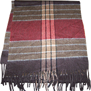 Beautiful  Quality Gently Used Plaid Wool Fringed Unisex Fashion Scarf