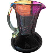 Such A Pretty Unique Hand Blown Quirky Purple Amethyst Glass Pitcher Applied CLear Handle Pontil Bottom