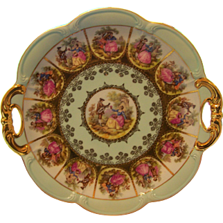 Signed Fragonard Love Story Courting Couple Heavily Gold Decorated Cake Tid Bit Handled Plate