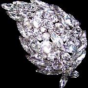 Designer Clear Swarovski Crystal Rhinestone Leaf Pin Brooch by SHERMAN