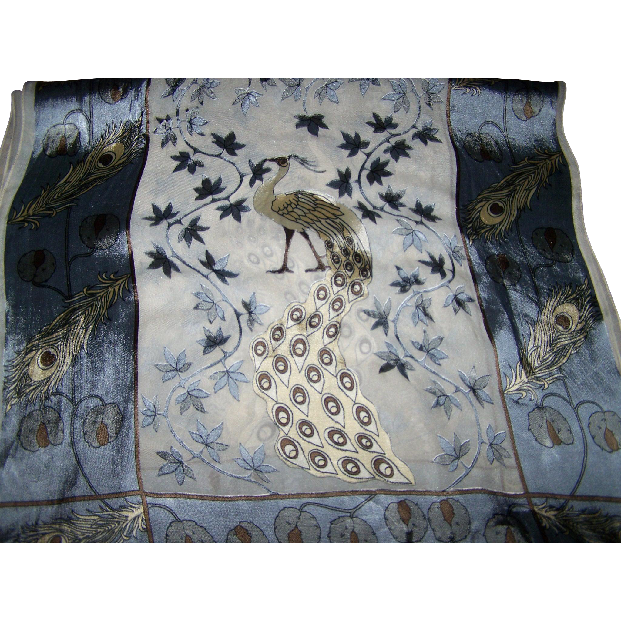 Stunning Gently Used Floral Peacock Bird Feather Long Rectangular  60 % Silk Scarf Guarisco Italy