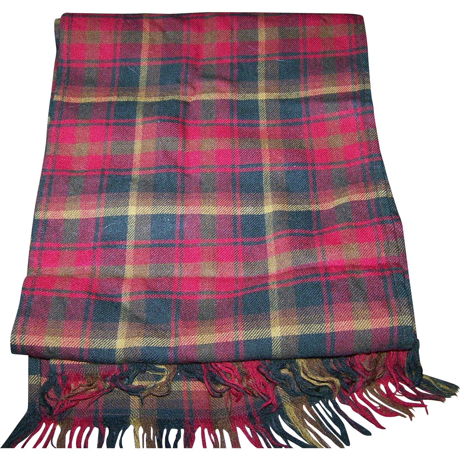 Lovely Gently Used Plaid Pattern Fringed Long Rectangular Wool Scarf