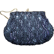 Du Val Made in Hong Kong Pre-Owned Vintage Black Sequin and Glass Seed Bead  Evening Purse