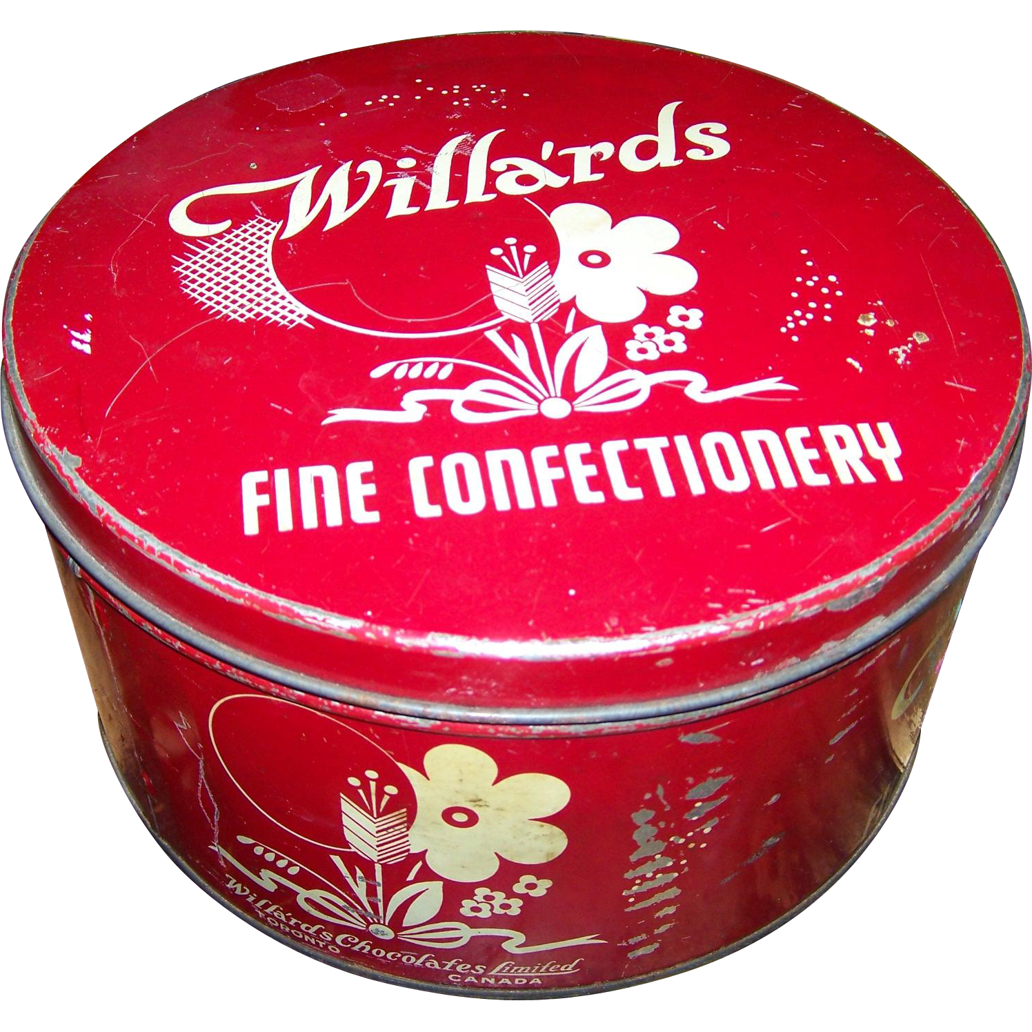 Old Farmhouse Collectible Advertising Tin Willa'rds Fine Confectionery Toronto Canada