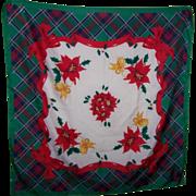 Colorful Xmas Christmas  Ladies Fashion Accessory Scarf Tartan Bow Poinsettia Theme